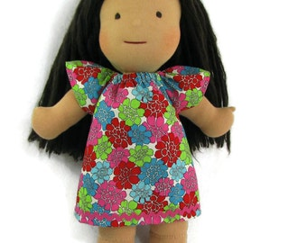 15 inch Waldorf doll dress, 16 inch Waldorf doll dress, bright floral doll dress and optional white bloomers