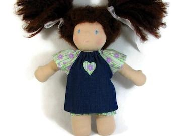10 inch Waldorf Doll Dress, Green Purple and Denim Doll Dress, Handmade Doll Dress,  cotton doll dress, 10 in Waldorf doll clothes