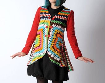 Colorful upcycled jacket, Granny square crochet swallowtail jacket, long sleeved multicolored cardigan sz UK 8