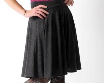 Dark grey jersey skirt, Grey womens stretchy skirt, Dark grey supple skirt, Casual jersey skirt, Your size