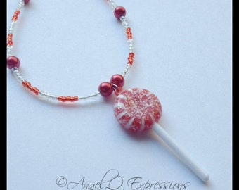 Veruca Salt Willy Wonka and the Chocolate Factory Candy Lollipop Beaded Necklace OOAK