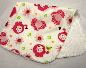 Baby Girl Burp Cloth, Baby Shower Gift, Welcome Baby Gift: Pink Elephants, Green Birds on White