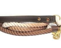 Ombre Rope Dog Leash with brown leather handle - Brown Ombre Leash