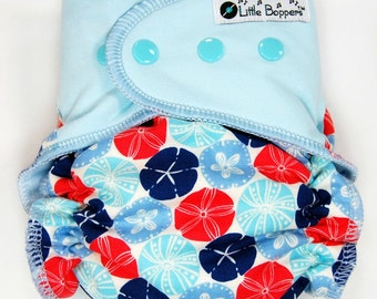Made to Order Cloth Diaper or Cover - Sand Dollars (Woven) with Light Blue Stretchy Wings - Custom Nappy or Wrap