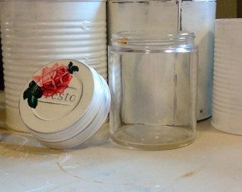 antique vintage specimen jar with presto lid shabby chic cottage white fluffy pink rose distressed mason cap old medical glass doctor vessel