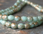 Mint Gold 4mm Faceted Czech Glass Bead Round : 50 pc Mint Green 4mm Round