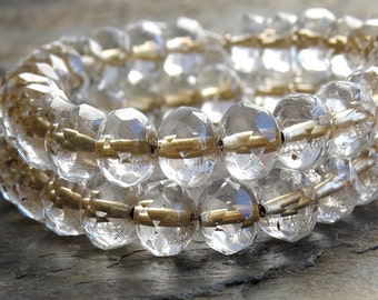 Crystal Gold Lined Czech Glass Bead Faceted 8x6mm Rondelle : 12 pc Clear Gold Rondelle