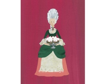 marie antoinette art   art print   4x6   rococo   cake art   kitchen art   hot pink   dark green   french rococo   shabby chic   cottage art