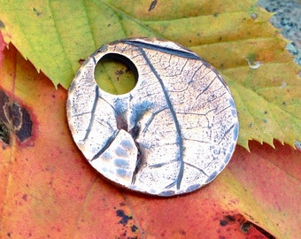Copper Leaf Imprint Pendant (smaller version), Round Focal Pendant, Leaf Impression Rustic Jewelry, Nature Lover's Gift