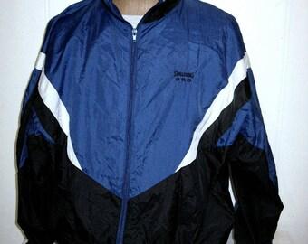 Spalding Windbreaker Mens Windbreaker Sz 2XL Blue Black Nylon Track Jacket