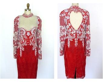 Silk Sequin Dress. Red Sequin Dress.  1980s .Silk Sheer Beaded Bodice Open Back Sz M