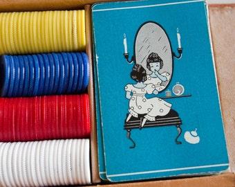 Ladies Traveling Poker Game, 1950s Ladies Boudoir Card Game