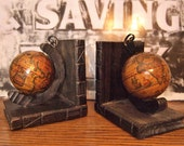 Globe Book ends on wood base sepia toned globes Made in Spain