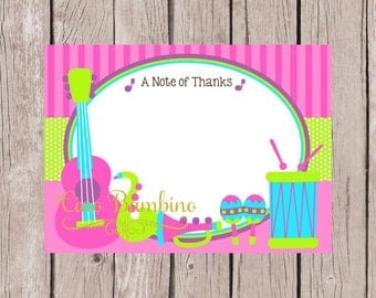 PRINTABLE Music Thank You Card / Print Your Own 5x7 Thank You Card with Musical Instruments / Pink, Lime Green, Blue & Purple / You Print