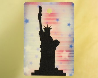 Statue of Liberty, Red White Blue Background