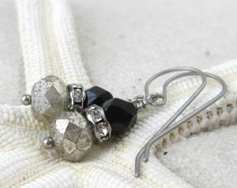 Titanium Earrings - Titanium - Pure Titanium - Hypoallergenic - Dangle Earrings - Nickle Free - Black Earrings - Silver and Black Earrings