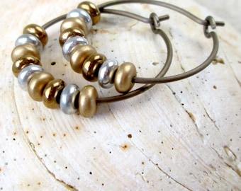 Titanium Hoop Earrings - Minimalist Jewelry - Hypoallergenic Hoops - Handmade Earrings - Bronze Hoop Earrings - Titanium Earring