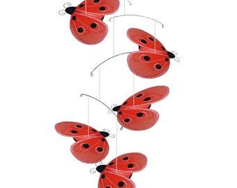 Ladybug Mobiles Baby Nursery Mobiles Nylon Hanging Ladybugs Mobile Girls Bedroom Ceiling Hanging Kid Room Decorations Fake Lady Bugs Shimmer