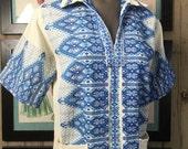 Fall sale 1970s blouse cotton tunic greek shirt 70s shirt vintage shirt short sleeve shirt ethnic shirt size medium