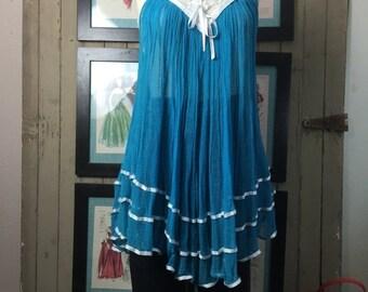 1970s tunic teal blouse gauze blouse sleeveless tunic vintage blouse bohemian blouse festival blouse gypsy top