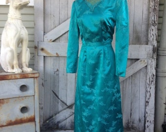 Fall sale 1960s dress teal gown evening gown 60s silk Asian dress size medium Vintage long sleeve full length gown