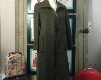 1990s mohair coat 90s olive green coat size small medium classic Vintage coat