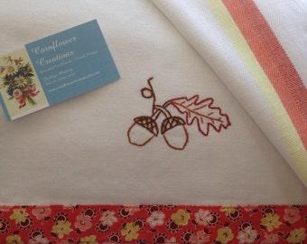 Fall Acorns - Hand Embroidered Vintage Style Flour Sack Tea Towel by Cornflower Creations