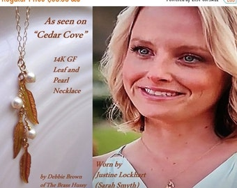 SALE 20% off 14K gold filled leaf and pearl necklace, as seen on Justine on Cedar Cove, as seen on facebook