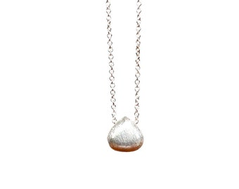 Brushed Sterling Silver Drop Necklace, Simple Jewelry, Handmade, Everyday Jewelry, Layering Necklace