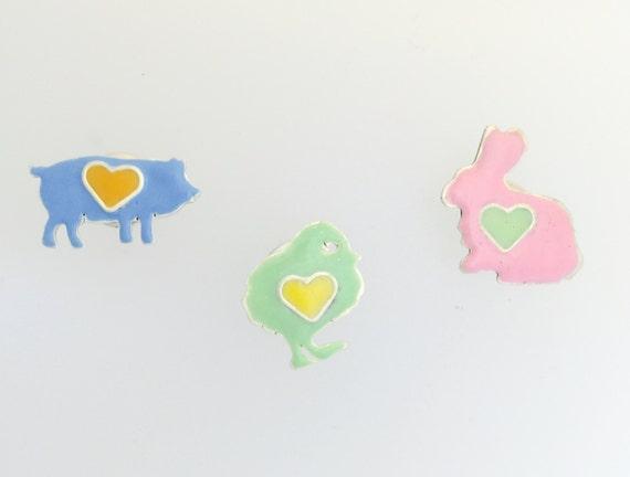 Farm Animal Lapel pins Set of 3-Pig-Chicken-Rabbit-vegan gift-vegan lapel pins-gift-birthday-anniversary-unisex-vegan dad-Valentine's Day