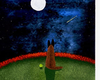 Belgian Malinois Shepherd Dog original 5 x 7 art painting by Todd Young