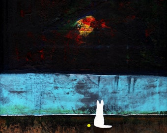 White German Shepherd Dog Abstract LARGE Folk Art PRINT of Todd Young painting MOONLIGHT