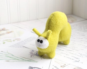 Handmade Plush Inchworm Stuffed Animal in Chartreuse Yellow Green
