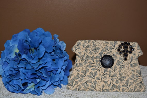 One of a kind victorian influence corded pocket adorned with brooch