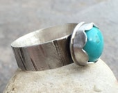 30% OFF - Turquoise Sterling Silver Wide Band Bezel Set Ring - US Size 9