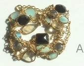 Mixed Gemstone Bezeled 24 kt. Gold Plated Chain by the Foot (A)