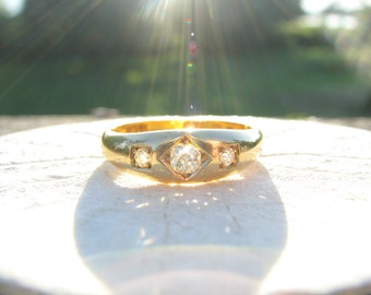 Antique Diamond Ring, Old Mine Cut Diamond in 18K Gold, Elegant Three Stone Band, Hallmarked 1896 - 1897, Victorian Era
