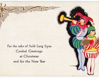 Vintage Medieval Style Christmas and New Year Holiday Postcard - circa 1920s