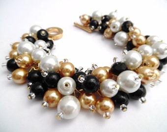 Black White Gold Pearl Bracelet, Bridesmaid Jewelry, Cluster Bracelet, Beaded Bracelet, Black Wedding Jewelry, Bridesmaids Bracelets