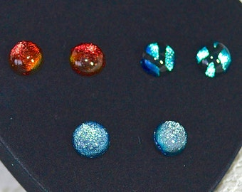 3 Pairs of Colourful Dichroic Glass on Sterling Silver Stud Earrings - 10mm - in Quality Heart Gift Jewellery Boxed