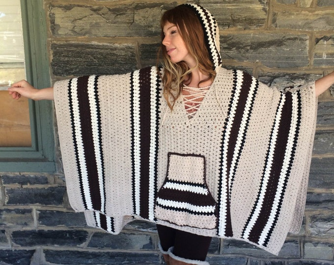 plus size sweater/  READY TO SHIP/ Poncho/ oversize sweater/ plus size poncho/ crochet poncho/ crochet sweater/ boho poncho/ womens sweater