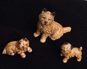 Vintage Wade Whimsies Cairn Terrier 3 piece set with Original Labels