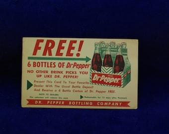 Vintage Dr. Pepper Postcard/Carrier Insert