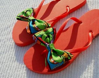 TMNT Teenage Mutant Ninja Turtles inspired Flip Flop Sandals Licensed fabric handmade to your shoe size