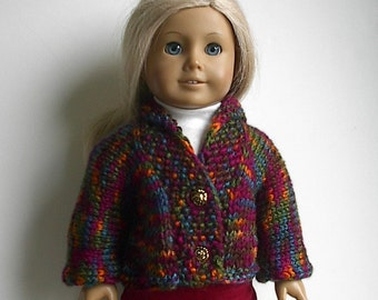 "18 Inch Doll Clothes Knit Cardigan Tweed Sweater in Autumn Colors Handmade to fit the American Girl and Similar 18"" Dolls"