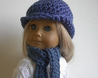 18 Inch Doll Clothes Crocheted Hat and Scarf Set in Country Blue Handmade to fit the American Girl and Similar Dolls - Ready to Ship