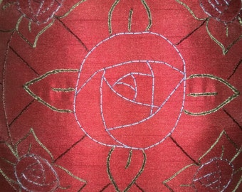 Hand Embroidered Art Deco Rose Pillow