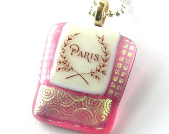 Paris in Pink - Fused Glass Pendant - Rose Petal Pink Glass -April in Paris - Dichroic Accents