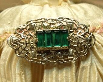 Vintage White Metal Pin Filigree Green Stone