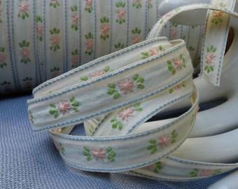 2 yds Vintage Embroidered Ribbon Trim Pink